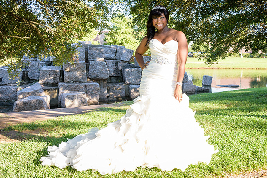 A beautiful & flawless bridal picture of a bride just before her wedding.
